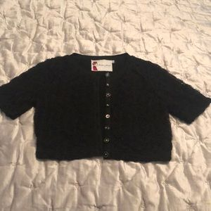 Forever 21 Cardigan Cropped Black Roses Buttons